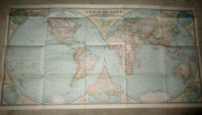 1943 World Map National Geographic Wall Hanging Atlas Geography Decor Artwork