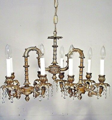Vintage Chandelier Billiard Style Antique Bronze Color   rewired  Crystal drops