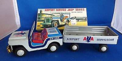 1960's Japan Friction Powered Jeep & Trailer, American Airlines Original Box