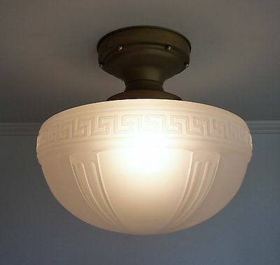 """Large 16"""" Satin Glass Schoolhouse Ceiling Light Fixture With Greek Key Pattern"""
