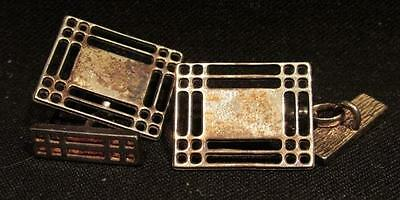 Chain Link Cufflinks Vintage Voided .925 Sterling VF Condition Signed CJL
