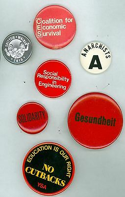 7 Vintage 1970's-2016 Socialist Party Political Cause Pinback Buttons Solidarity