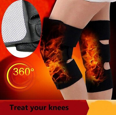 2*Tourmaline Thermal Magnetic Therapy Self Heating Heated Knee Support Brace Pad