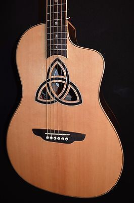 New Luna Trinity Celtic Parlor 6 String Acoustic Electric Guitar-Free Shipping!