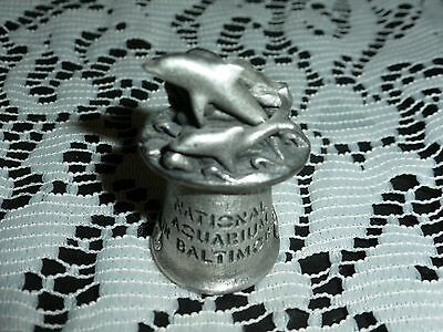Collectible Pewter Thimble from NATIONAL AQUARIUM BALTIMORE with Dolphins On Top