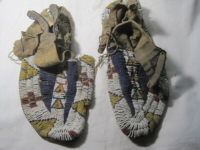 Antique 1880's Sioux Native American Indian Artifact Beaded Moccasins