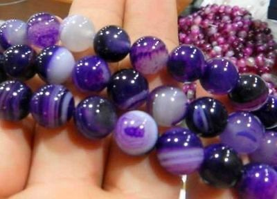 AAA 6mm Natural Purple Stripe Agate Onyx Gems Round Loose Beads 15 ""