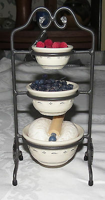 "Longaberger Miniature Cast Iron Bowl Stand with Bowls & ""Dough"" ""Fruit"" +"