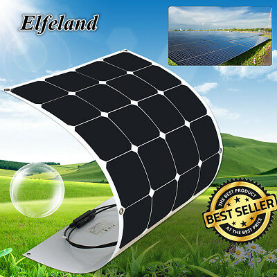 Elfeland 100W Watt 18V Semi Flexible Bendable Cell Solar Panel Battery RV Boat