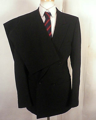euc Europa Diffusion black 100% Wool Double Breasted 2 Pc Suit business SZ 40 L