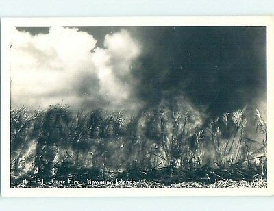 Pre-1950 rppc CANE FIRE state of Hawaii HM3559