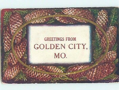 Divided-Back PINECONES Greetings From Golden City Missouri MO HM6662