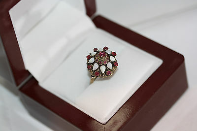 Vintage Antique Victorian 2.4 CT Ruby Opal Estate 14K Yellow Gold Ring Size 5