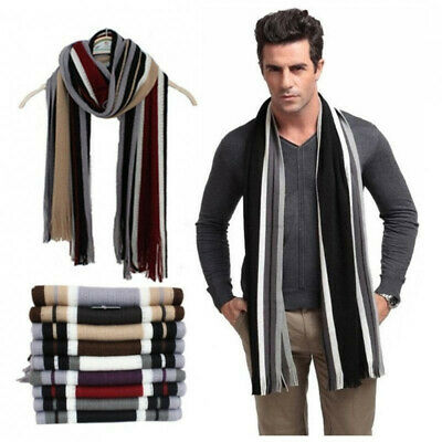 Classic Men Winter Warm Cashmere Feel Long Scarf  Faux Wool Soft Wrap Shawl NEW