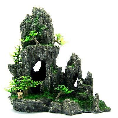 Mountain View Aquarium Ornement Arbre 29x15x28.5cm - Rock Cave Maison Décoration