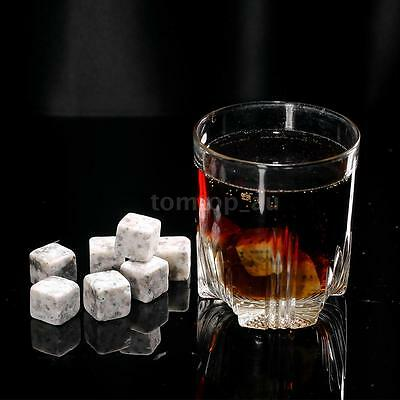 12pcs 20mm Whisky Ice Stones Drinks Cooler Cubes Beer Rocks with Pouch L0M1