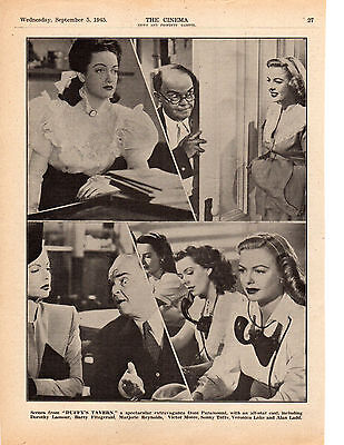 1945 A4 Film Trade Magazine Page Duffy's Tavern Dorothy Lamour Veronica Lake