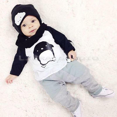 Cute Baby Boys Cartoon Children Outfits Long Sleeve Tops+Pants Casual Sets 1-2 Y