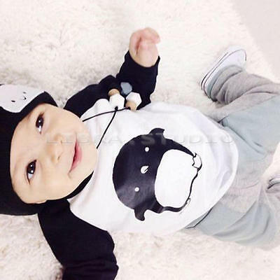 Cute Baby Boys Cartoon Children Outfits Long Sleeve Tops+Pants Casual Sets 3-4 Y