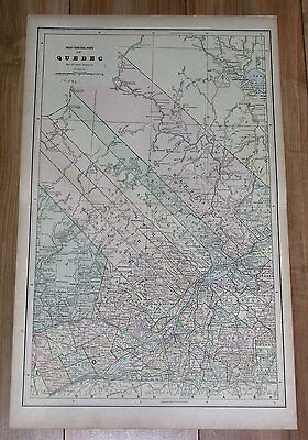 1890 Antique Map Of Quebec Montreal Monteregie Laurentians Laurentides Canada