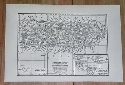 1928 Original Vintage Map Of Puerto Rico Caribbean West Indies Panama Canal Zone
