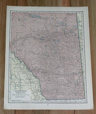 1928 Original Vintage Map Of Alberta / Canada