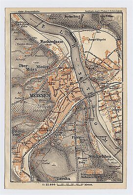 1904 Antique City Map Of Meissen Saxony Showing Royal Porcelain Factory Germany
