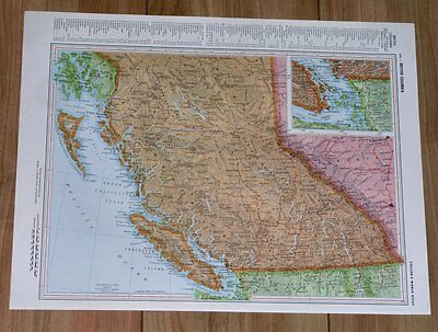 1958 Original Vintage Map Of British Columbia / Vancouver Island / Canada