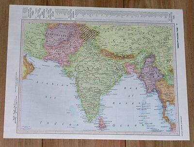 1958 Original Vintage Map Of India Pakistan Kashmir China / Verso Philippines