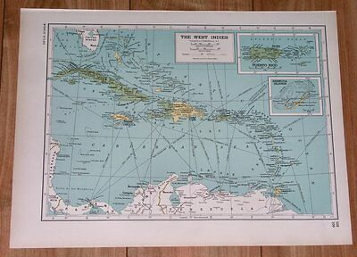 1943 Original Vintage Wwii Map Of West Indies Caribbean Florida Verso Mexico