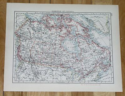 1906 Original Antique Map Of Canada Alberta Ontario North America