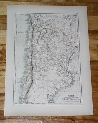 1889 Antique Map Of Argentina Chile Buenos Aires / South America