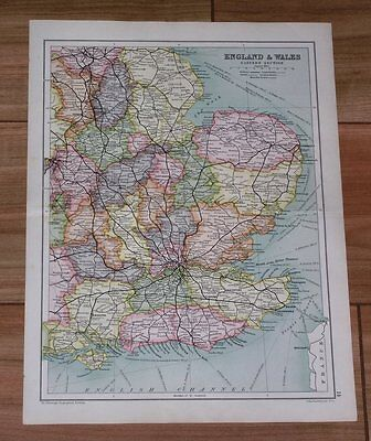 1909 Antique Map Of Eastern England London