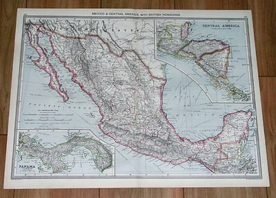 1908 Original Antique Map Of Mexico / Panama Costa Rica Central America