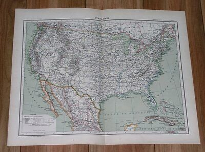 1907 Original Antique French Map Of United States Usa