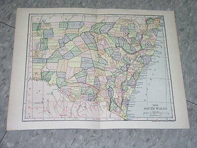 1903 Dated Map Of New South Wales / Australia Ver