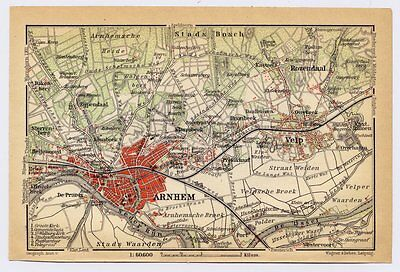 1910 Antique City Map Of Vicinity Of Arnhem / Holland Netherlands