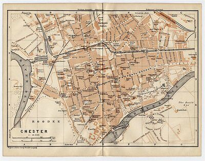 1906 Antique City Map Of Chester / Cheshire / England