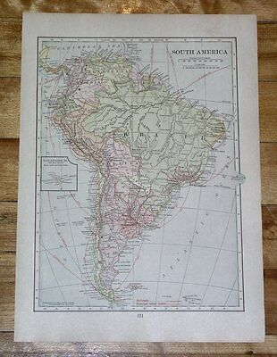 1918 Map Of South America Political / Climate Weather