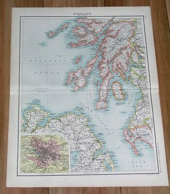 1903 Antique Map Of Scotland Glasgow Argyll Mull Jura Arran Islay Kintyre