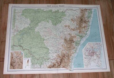 1922 Original Map Of New South Wales / Sydney / Canberra / Australia