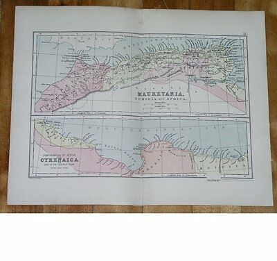 1912 Antique Map Of Ancient Northern Africa Roman Empire Cyrenaica Libya Morocco