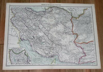 1908 Antique Map Of Iran Persia Afghanistan / Afghan Frontier