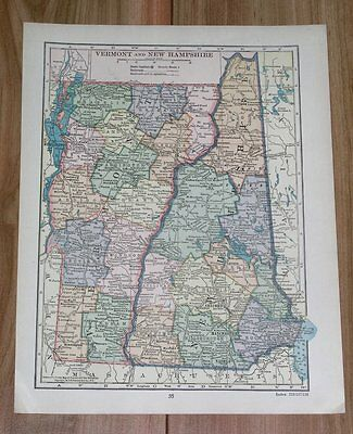 1928 Original Vintage Map Of Vermont And New Hampshire