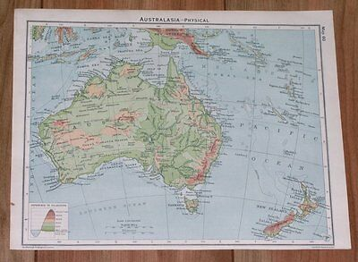 1928 Vintage Physical Map Of Australia And New Zealand / Rev Side South Africa