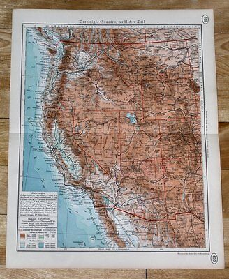 1938 Original Vintage Map Of Western Usa California Indian Reservations
