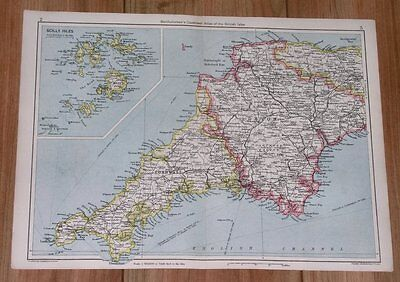 1943 Original Wwii Vintage Map Of Cornwall Devon Scilly Isles / England