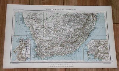 1927 Original Vintage Italian Map Of South Africa / Cape Town Kaapstad