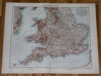1903 Antique Map Of England London / Wales Cornwall Devon Somerset Sussex