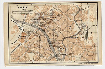 1906 Antique City Map Of York / North Yorkshire / England